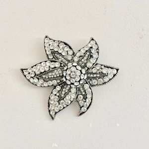 Silver and crystal  with black accent brooch pin